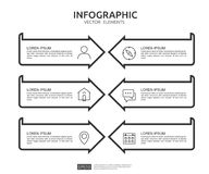 6 steps infographic. timeline design template with 3D paper label. Business concept with options. For content, diagram, flowchart,. Steps, parts, workflow royalty free illustration