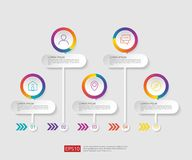 5 steps infographic. timeline design template with 3D paper label, integrated circles. Business concept with options. For content,. Diagram, flowchart, steps stock illustration
