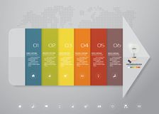 6 steps Infographics element arrow template chart for presentation. EPS 10 Stock Illustration