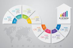 8 steps Infographics element arrow template chart for presentation. EPS 10 stock illustration