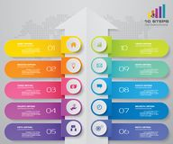 10 steps Infographics element arrow template chart for presentation. EPS 10 royalty free illustration