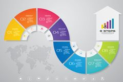 8 steps Infographics element arrow template chart for presentation. EPS 10 royalty free illustration