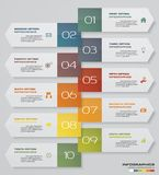 10 steps Infographics element chart for presentation. EPS 10. Arrow template for business presentation Royalty Free Stock Images