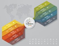 10 steps arrow template for business presentation. 10 steps Infographics element chart for presentation. EPS 10. Arrow template for business presentation Vector Illustration