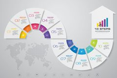 10 steps arrow template for business presentation. 10 steps Infographics element chart for presentation. EPS 10. Arrow template for business presentation royalty free illustration