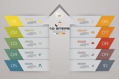 10 steps Infographics element chart for presentation. EPS 10. Arrow template for business presentation Royalty Free Stock Photography