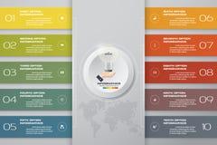 10 steps template for business presentation. 10 steps Infographics element chart for presentation. EPS 10. Template for business presentation Royalty Free Stock Photos