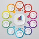 10 steps infographics element template chart. 10 steps infographics element template chart for presentation. EPS 10 vector illustration