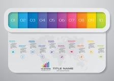 10 steps infographics element template chart for presentation. EPS 10 stock illustration