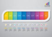 10 steps infographics element template chart for presentation. EPS 10 vector illustration