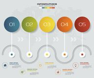 5 steps infographics element timeline template chart for presentation. EPS 10 Royalty Free Illustration