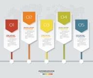 5 steps infographics element timeline template chart. For presentation. EPS 10 royalty free illustration