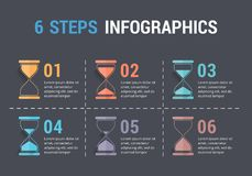 6 Steps Infographics with Hourglass Stock Images
