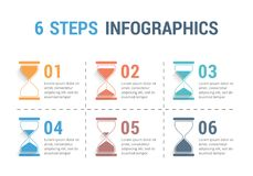 6 Steps Infographics with Hourglass Stock Image