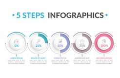 5 Steps Infographics. Infographic template with five round progress indicators, five steps infographics, workflow, process chart Stock Image