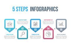 5 Steps Infographics Royalty Free Stock Photos