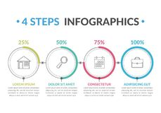 4 Steps Infographics. Infographic template with four round progress indicators, four steps infographics, workflow, process chart Stock Photos