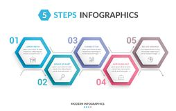5 Steps Infographics. Infographic template with 5 hexagons with line icons, process chart, creative business infographics Stock Photography