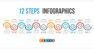 12 Steps Infographics. Infographic template with 12 steps or options, workflow, process diagram Royalty Free Stock Photo