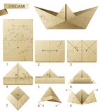 Paper boat. 9 steps instruction how to make paper boat Royalty Free Stock Images