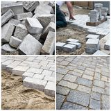 Steps of laying a pavement Royalty Free Stock Image