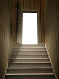 Steps leading from a dark basement to open the door Royalty Free Stock Photography