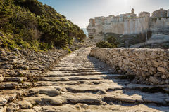 Steps leading down towards Bonifacio citadel in Corsica Royalty Free Stock Photography