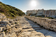 Steps leading down towards Bonifacio citadel in Corsica Stock Images