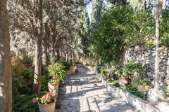 Steps leading from the entrance to Church of Mary Magdalene in Jerusalem, Israel. Jerusalem, Israel, November 17, 2018 : Steps leading from the entrance to royalty free stock photography