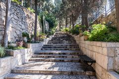 Steps leading from the entrance to Church of Mary Magdalene in Jerusalem, Israel. Jerusalem, Israel, November 17, 2018 : Steps leading from the entrance to stock photography