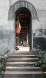 Steps leading into a narrow archway of the drum room in a Chinese Temple Royalty Free Stock Photos
