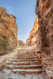 Steps leading to Ad Deir (aka The Monastery or El Deir) in the ancient city of Petra (Jordan) Royalty Free Stock Image