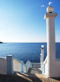 Steps leading to a blue sea. View, in Istria, Croatia stock image