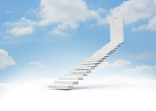 Steps leading to closed door. In the sky Stock Photo