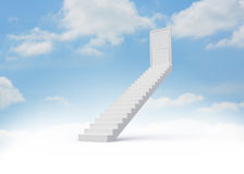 Steps leading to closed door. In the sky Royalty Free Stock Photo