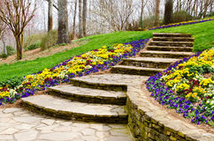 Steps leading to garden. Path Royalty Free Stock Photos