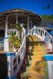 Steps leading to the gazebo under  roof Royalty Free Stock Photography