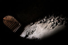 Steps leading from underground to light. Stairway in castle cellar dungeon, tunnel, mystery stock photography