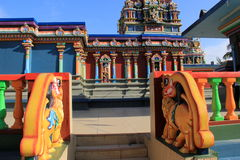 Steps leading up into the main reverent area, with colorful architecture of Sri Siva Subramaniya Temple, Nadi,Fiji,2015 Stock Photos