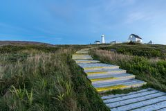 Steps leading up to the lighthouse of Cape Spear at night Stock Photos