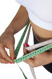 Lose Weight. Vertical isolated photo, showing the steps of losing weight. She löse fat, thanks to diet and sports Stock Photo