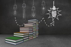 Steps made of books in front of light bulb doodle Stock Image