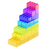 Steps made of toy bricks isolated Stock Images