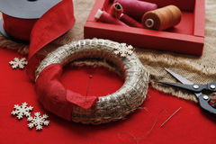 Steps of making christmas door wreath. Home decor royalty free stock image