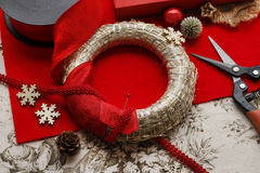 Steps of making christmas door wreath Royalty Free Stock Photography