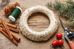 Steps of making christmas door wreath Royalty Free Stock Images