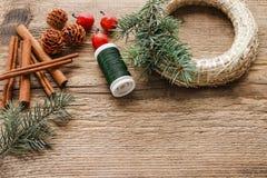 Steps of making christmas door wreath Stock Image