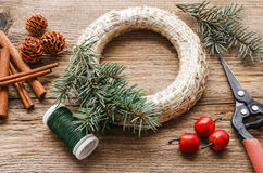 Steps of making christmas door wreath. Home decor stock photography