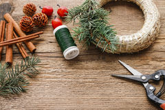Steps of making christmas door wreath. Home decor royalty free stock photography