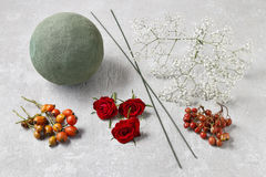 Steps of making decorative ball with rose hip, hawthorn and rowa Stock Photo
